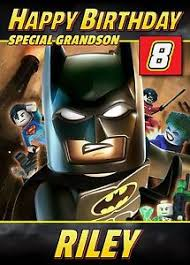 batman lego personalised birthday card son grandson etc any name