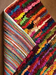 Round Colourful Rugs by Plain Multi Coloured Shaggy Pile Recycled Chindi Rag Rug