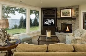 how to decorate a living room with fireplace in the corner