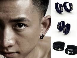 hoop earrings for men 1 pair cool men women stainless steel ear studs huggie
