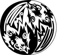 small yin yang tribal wolf digitally redonealphas on