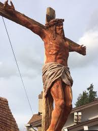 size jesus on the cross wood sculpture