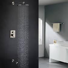 modern solid brass wall mount rain shower head u0026 tub filler system