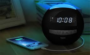 night light alarm clock amazon com raynic bluetooth digital alarm clock radio am fm with