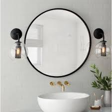 bathroom round mirror umbra hub wall mirror wayfair
