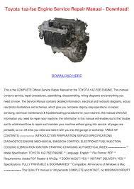 toyota 1az fse engine service repair manual d by nolaoconnor issuu