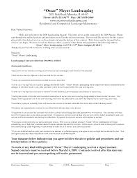 cover letter landscaping contracts forms free landscaping