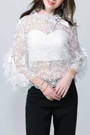 see thru blouse pics 2018 flare sleeve lace see thru blouse with top white m in