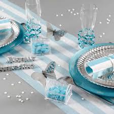 deco table marin serviette rayées turquoise déco table vaisselle jetable féezia