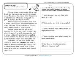 push and pull 2nd grade reading comprehension worksheets