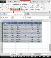 identifying and selecting the print area in a sheet in excel 2010