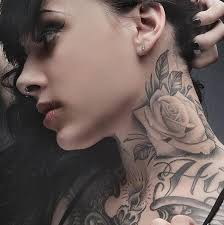 neck rose tattoo black and great taaaattttsss pinterest
