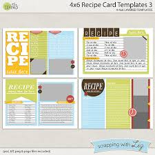 digital scrapbook templates 4x6 recipe card 3 scrapping with liz