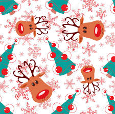 seamless pattern rudolph tree and snowflakes on white