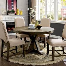 artefama tower dining table furniture of america cooper rustic light oak round 54 inch pedestal