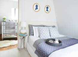 faux fur rug bedroom transitional with blue and white faux