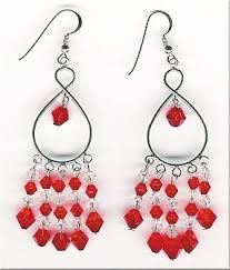 Red Chandelier Earrings Red Swarovski Crystal Chandelier Earrings