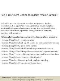 Sample Financial Service Consultant Resume Top8apartmentleasingconsultantresumesamples 150517013755 Lva1 App6891 Thumbnail 4 Jpg Cb U003d1431826720