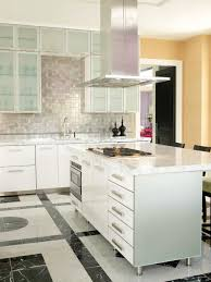 kitchen interior design with white marble top and glass mosaic