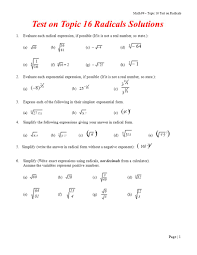 test on topic 16 radicals solutions ppt video online download