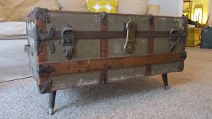 steamer trunk coffee table with antique look design chocoaddicts
