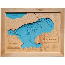 Lake Geneva Wisconsin Map by 3d Lake Maps Wood Ya Shop