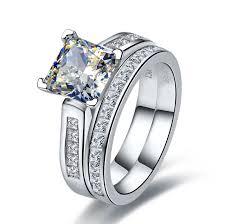 2 wedding rings 2 carat princess cut wedding rings set diamond ring band
