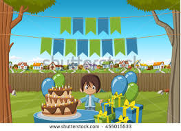 banners over cartoon boy birthday party stock vector 455015533