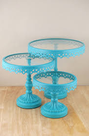 Crystal Pedestal Cake Stand Cake Stands Round Metal U0026 Glass Pedestal Stands Turquoise Set Of