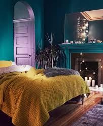 d馗o chambre bleu canard peinture murale idee deco chambre bleu paon style bohème chic