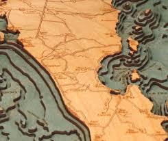 Baja Map Baja Peninsula Mexico Nautical Wood Chart Wood Map Art