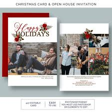 merry christmas card party invitation photoshop template