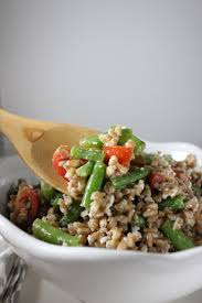 cold farro salad with feta green beans and lemon olive oil