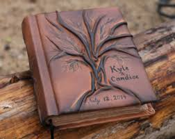 personalized leather guest book wedding guest book personalized leather journal tree of