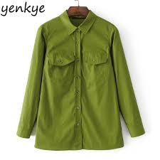 green blouses army green blouse shirt turn collar sleeve
