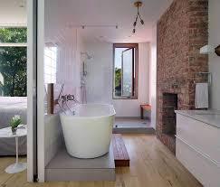 2014 Award Winning Bathroom Designs Award Winning by Brick Chimney Breast In The Contemporary Bathroom With Standalone