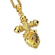 aliexpress buy nyuk new fashion american style gold nyuk men s gold lion cross necklace lion king pendant