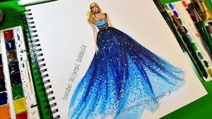 fashion sketch painting ocean blue ombre dress painting tutorial
