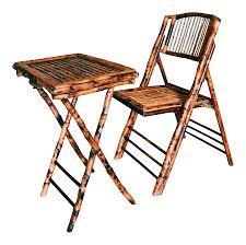 Vintage Outdoor Folding Chairs Vintage Burnt Tortoise Bamboo Folding Chair U0026 Tray Chairish