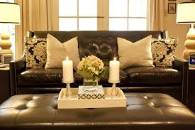Love The Pillowsblack White Damask With Brown Leather Sofa Like - Leather sofa interior design