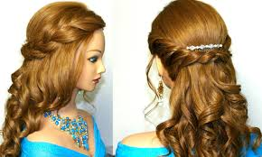 curly prom hairstyle for medium long hair tutorial youtube