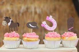 cowgirl cupcake toppers set of 12 giddy up pony western food
