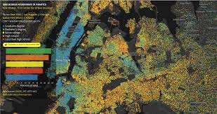 New York City Area Map by Data Visualization Map Reveals Educational Attainment Levels In