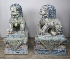 foo dogs pair of monumental carved wood painted foo dogs levinson