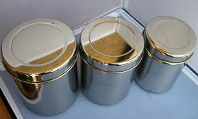 Tin Kitchen Canisters Amazon Com Stainless Steel Tea Tin Canister Container Set Of 3