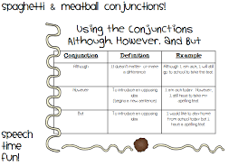 spaghetti u0026 meatball conjunctions using although however and but