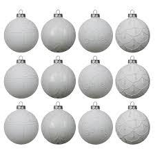 set weihnachtskugeln 12 stück ø8cm 4 sorten weiß im display