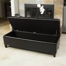 york bonded leather black storage ottoman bench christopher