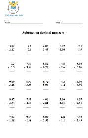 5th grade subtraction decimal worksheets fifth grade exercises activities