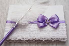 purple wedding guest book lace purple white signin book and ostrich feather violet pen